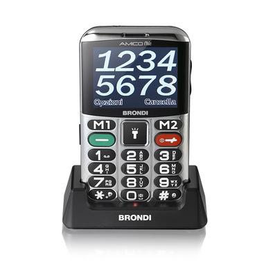 "Brondi Amico Chic 6,1 cm (2.4"") Nero, Argento Telefono cellulare basico"