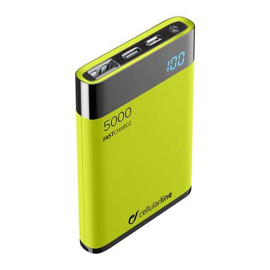 Cellularline FreePower Manta HD 5000 - Universal Caricabatterie portatile ultrapiccolo con celle ad alta densità Verde