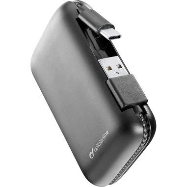 Cellularline FreePower Cable 5000 - USB Type-C Caricabatterie portatile con cavi integrati Nero