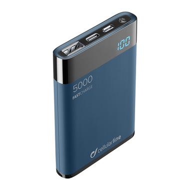Cellularline FreePower Manta HD 5000 - Universal Caricabatterie portatile ultrapiccolo con celle ad alta densità Blu