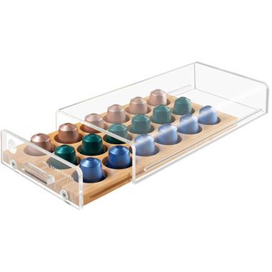 Macom Cassetto portacapsule universale SalvaSpazio per capsule di caffè Legno Trasparente