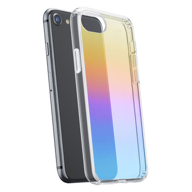 Cellularline Prisma - iPhone SE (2020)/ 8 / 7 / 6 Custodia semi-trasparente con effetto iridescente Trasparente