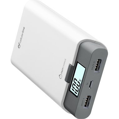 Cellularline Freepower 10000 - Universale Caricabatterie portatile potente, con doppia porta USB Bianco