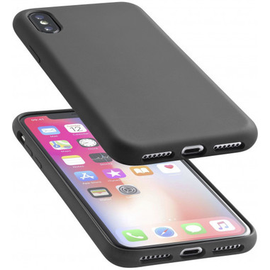 Cellularline Sensation - iPhone XS/X Custodia in silicone soft touch Nero
