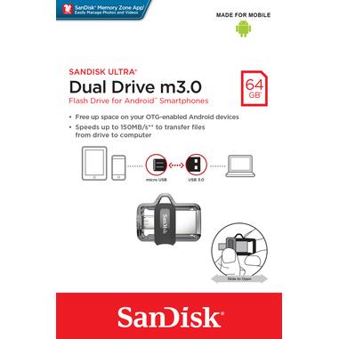 Sandisk Ultra Dual m3.0 64GB Nero, Argento, Trasparente unità flash USB