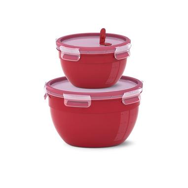 EMSA Clip & Micro - Set di 2 contenitori Rotondi Mcroonde, Rosso, 1.1L + 2.6L