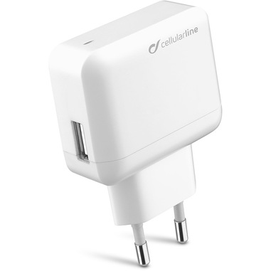 Cellularline USB Charger Ultra - Fast Charge Universale Caricabatterie veloce a 10W Bianco