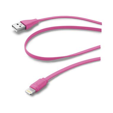 Cellularline USB Data Cable Color - Lightning Cavo dati colorato e in materiale antigroviglio Rosa