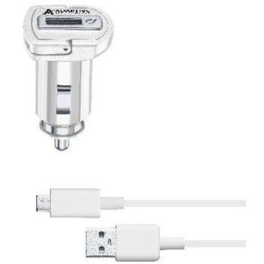 Cellularline Adaptive Fast Car Charger Kit 15W - Micro USB - Samsung Caricabatterie da auto adattivo Fast Charger 15W con cavo Micro USB Bianco