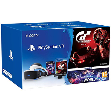 Sony PlayStation VR + PS Camera v2 + VR Worlds + GT Sport Occhiali immersivi FPV 610g Nero, Bianco