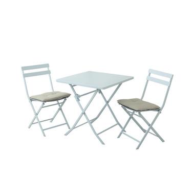 Tavolino con 2 sedie e due cuscini Tiziano bianco