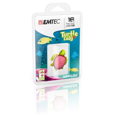 Emtec Turtle Lady unità flash USB 16 GB USB tipo A 2.0 Verde, Rosa