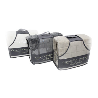 TESS White & White Coperta Flannel Matrimoniale 250x200 Tortora