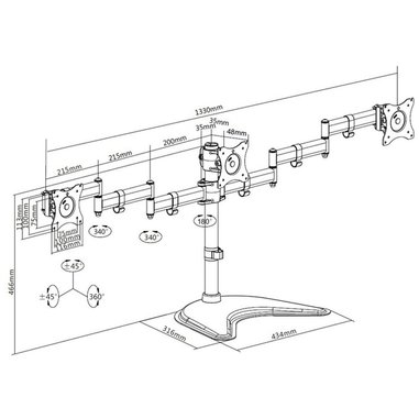 Multibrackets supporto da tavolo per 3 monitor fino a 15