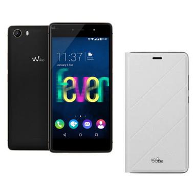 Wiko Fever 4G 4G 16GB Nero, Oro + custodia Folio Jetlines