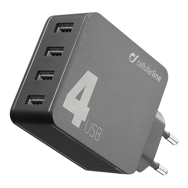 Cellularline Multipower 4 - iPhone, Samsung, Huawei and other Smartphones and Tablets Caricabatterie da rete veloce 4 porte, 42W Nero