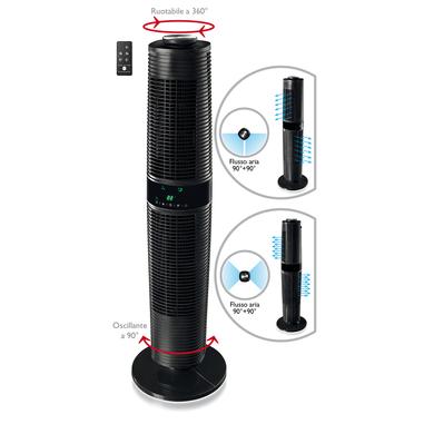 Macom DOUBLE ROTO WINDD ventilatore torre con doppio flusso d'aria bidirezionale indipendente. Telecomando incluso