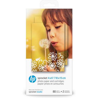 HP Cartucce e carta fotografica originali Sprocket 10 x 15 cm, 80 fogli