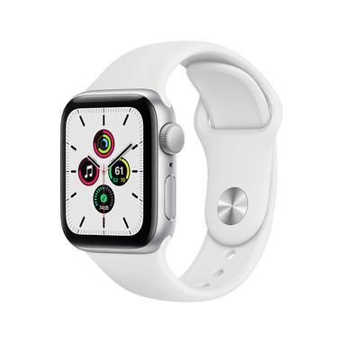 Apple Watch SE GPS, 40mm in alluminio argento con cinturino Sport Bianco