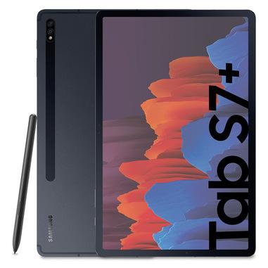 "Samsung Galaxy Tab S7+ Tablet S Pen, Snapdragon 865 Plus, Display 12.4"" WQXGA SuperAMOLED, 128GB Espandibili fino a 1TB, RAM 6GB, Batteria 10.090 mAh, 5G, Android 10, Mystic Black"