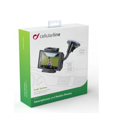 Cellularline Pilot Techno - Universale Supporto auto per smartphone con ventosa super grip Nero