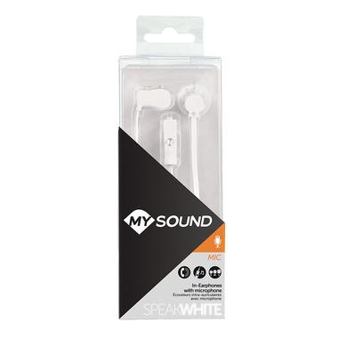 MySound Auricolare in ear con mic. Speak fluo, Bianco