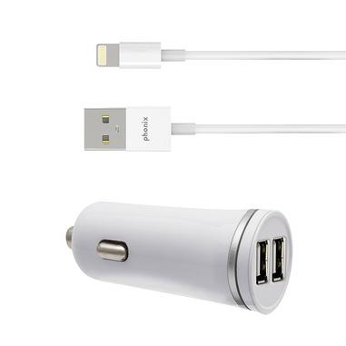 Phonix X-wave Carica Batteria Auto max 2.4Ah con 2 Porte USB e Cavo Apple Lightning (MFI) - Bianco