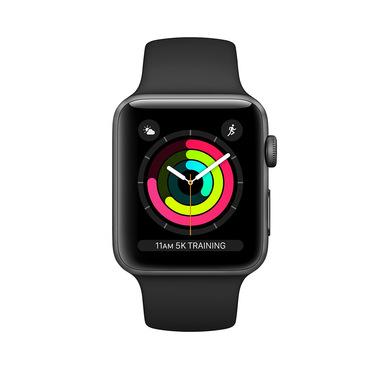 Apple Watch Series 3 GPS, 38mm in alluminio grigio siderale con cinturino Sport Nero