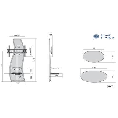 Meliconi Porta Tv Ghost Design 2000.Meliconi Ghost Design 2000 63 Fisso Argento Supporti Tv In