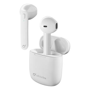 Cellularline Aries - Universale Auricolari stereo capsule senza fili con carica batteria portatile Bianco