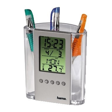 Hama LCD Thermometer & Pen Holder Argento, Trasparente