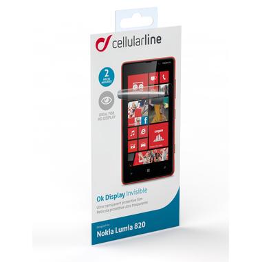 Cellularline Ok Display Invisible - Lumia 820 Pellicola protettiva ultra trasparente e facile da applicare Trasparente