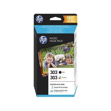 HP 303 Photo Value Pack con cartuccia nero e in tricromia, 40 fogli formato 10 x 15 cm