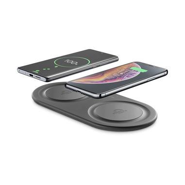 Cellularline Wireless Fast Charger Dual - Samsung, Apple and other Wireless Smartphones Wireless a doppia stazione di carica 10W + 10W con alimentatore incluso Nero