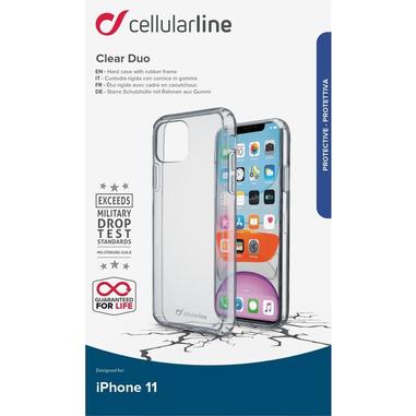 "Cellularline Clear duo custodia per iPhone 11 15,5 cm (6.1"") Cover Trasparente"