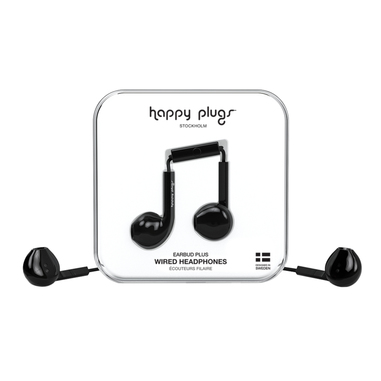Happy Plugs Earbud Plus Auricolare Bianco Nero