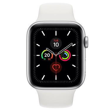 Apple Watch Series 5 GPS, 44mm in alluminio argento con cinturino Sport Bianco