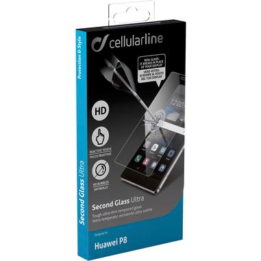 Cellularline Second Glass Ultra - P8 Vetro temperato trasparente sottile, resistente e super sensibile Trasparente