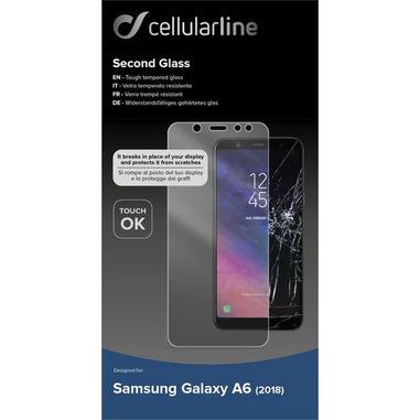 Cellularline Second Glass - Galaxy A6 (2018) Vetro temperato sottile e resistente Trasparente
