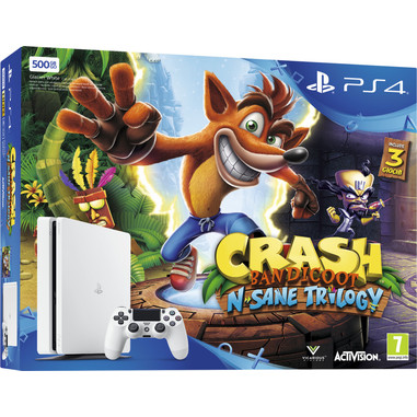 Sony PS4 500GB E Chassis Slim + Crash Bandicoot N. Sane Trilogy 500GB Wi-Fi Bianca