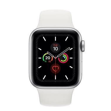 Apple Watch Series 5 GPS, 40mm in alluminio argento con cinturino Sport Bianco