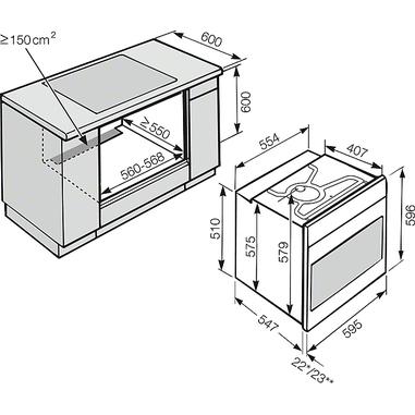 Miele H 6160 BP Elettrico 76L 3500W A+ Nero, Acciaio inossidabile forno