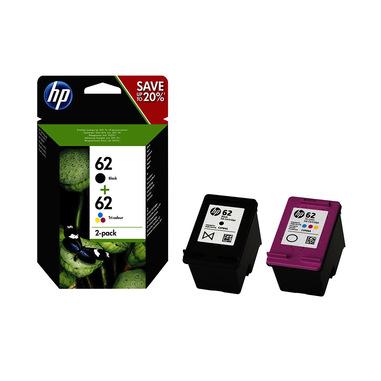 HP Confezione da 2 cartucce originali di inchiostro nero/tricromia 62