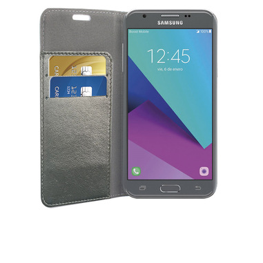 Phonix Custodia a Libro in Ecopelle Sparkling per Samsung Galaxy J3 (2017) - Grigio Metallico