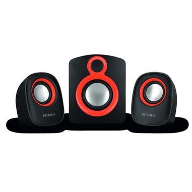 Atlantis Land Soundmaster 900 set di altoparlanti 2.1 canali 7 W Nero, Rosso