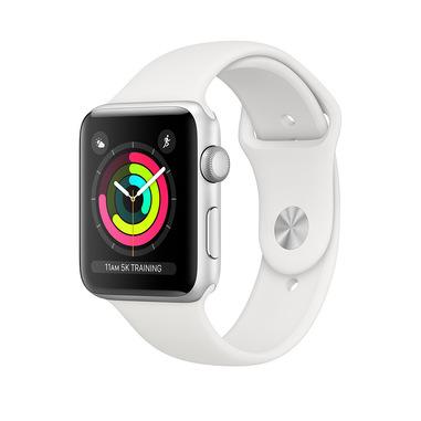 Apple Watch Series 3 GPS, 42mm in alluminio argento con cinturino Sport Bianco