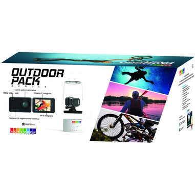 ACTIVEON pack con action cam CX + selfiestick + kit di montaggio + Fastcut