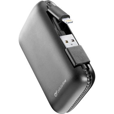 Cellularline FreePower Cable 5000 - Lightning Caricabatterie portatile con cavi integrati Nero