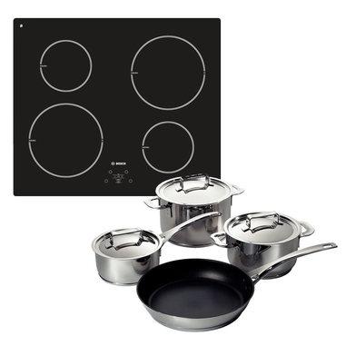 Bosch kit PIE611B10J piano cottura induzione + set di pentole