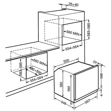 Smeg SF585X Elettrico 70L A Acciaio inossidabile forno